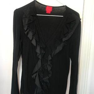 L - Christina - Black Ruffled Knit Top